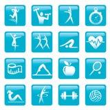 Błękitni sprawności fizycznych ikon guziki Obraz Stock