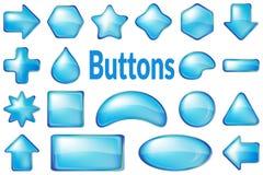 Błękitni szkło guziki ustawiający Obraz Royalty Free