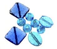 Błękitni Szklani koraliki Fotografia Royalty Free