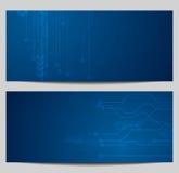 Błękitni technika sztandary z obwód deski projektem Zdjęcie Royalty Free