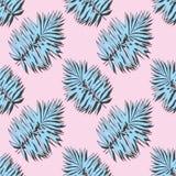 Błękitni tropikalni liście na różowym tle wektor bezszwowy wzoru royalty ilustracja