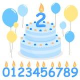 Błękitni urodzinowego torta balony i świeczki royalty ilustracja