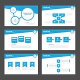 Błękitni Wielocelowi Infographic elementy i ikony prezentaci szablonu płaskiego projekta broszurki ustalony reklamowy marketingow Obraz Royalty Free