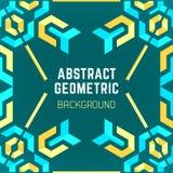 Błękitny żółtej zieleni abstrakcjonistyczny geometryczny deseniowy tło ilustracji