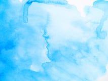 Błękitny abstrakcjonistyczny akwareli muśnięcia tło Ręka malujący illustra zdjęcia stock