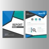 Błękitny Abstrakcjonistyczny broszurka raportu ulotki magazynu prezentaci elementu szablonu a4 rozmiar ustawia dla reklamowej mar Zdjęcia Stock