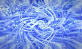 Błękitny abstrakcjonistyczny tło z zamazanym magicznym neonowym światłem wyginał się li Fotografia Royalty Free