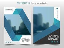 Błękitny abstrakcjonistyczny trójbok broszurki sprawozdania rocznego projekta szablonu wektor Biznesowych ulotek magazynu infogra ilustracja wektor