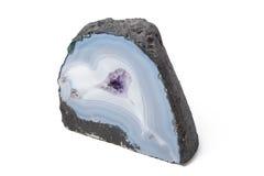 Błękitny agat na białym tle Zdjęcia Stock
