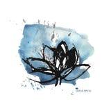 Błękitny akwarela lotos i plamy ilustracji