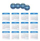 Błękitny angielszczyzna kalendarz dla 2016 z okregów cajgów rżniętymi etykietkami Obraz Royalty Free
