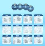 Błękitny angielszczyzna kalendarz dla 2016 z okregów cajgów rżniętymi etykietkami royalty ilustracja