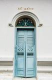 Błękitny antyczny drzwi Fotografia Royalty Free