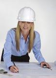 błękitny architekt kobieta drukuje działanie zdjęcia stock