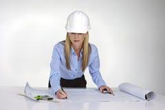 błękitny architekt kobieta drukuje działanie obraz stock