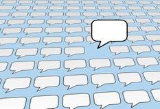 błękitny bąbla środki nad ogólnospołecznym mowy rozmów głosem Zdjęcie Stock