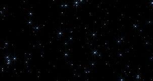 Błękitny błyskotanie błyskotliwości bokeh tło z cząsteczkami płynie na czarnym, wakacje świąteczny zbiory