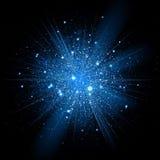 Błękitny błyskotliwość cząsteczek tła skutek _ Fotografia Stock