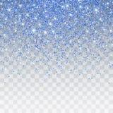 Błękitny błyskotliwości błyskotanie na przejrzystym tle Wibrujący tło z migotań światłami również zwrócić corel ilustracji wektor royalty ilustracja
