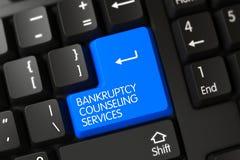 Błękitny bankructwo Doradza usługa klucz na klawiaturze 3d Zdjęcie Royalty Free