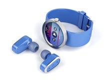 Błękitny bezprzewodowy smartwatch i słuchawki royalty ilustracja