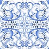 Błękitny bezszwowy światło wzór w etnicznym stylowym Gzhel akwarela substrat Stylizowany obraz na porcelanie ilustracja wektor