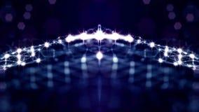 Błękitny bezszwowy abstrakcjonistyczny tło z cząsteczkami Wirtualna przestrzeń z głębią pole, łuna błyska i cyfrowi elementy zbiory