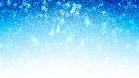 Błękitny bezszwowy Abstrakcjonistyczny tło z latającym śniegiem i płatkami śniegu Zapętlająca ruch grafika zbiory