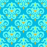 Błękitny Bezszwowy deseniowy wektoru adamaszek Zdjęcia Royalty Free