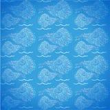 Błękitny bezszwowy tło z liniowymi skorupami ilustracji