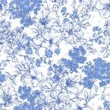 Błękitny Bezszwowy tło z wiosną i latem Obrazy Stock