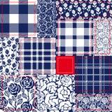 Błękitny, biały i czerwony patchwork, Czecha stylowy kolaż robić od bawełnianych łopotów Fotografia Royalty Free