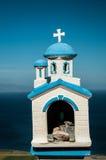 Błękitny biały kościół model, Santorini Fotografia Stock