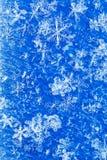 Błękitny biały zimy tło od płatek śniegu plamy Fotografia Stock