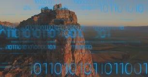 Błękitny binarny kod przeciw falezie Zdjęcie Royalty Free