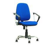 Błękitny biurowy krzesło odosobniony Zdjęcie Royalty Free