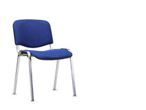 Błękitny biurowy krzesło odosobniony Obrazy Stock