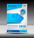 Błękitny biznesowy broszurki ulotki projekta układu szablon w A4 rozmiarze, Obrazy Stock