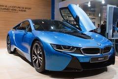 Błękitny BMW i8 hybrydowy Lemański Motorowy przedstawienie 2015 Zdjęcia Royalty Free