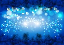 Błękitny Bożenarodzeniowy iskrzasty tło, zima wektoru karty szablon Obrazy Stock