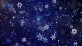 Błękitny Bożenarodzeniowy tło Z Białymi Śnieżnymi opad śniegu płatek śniegu cząsteczkami Anination ilustracja wektor