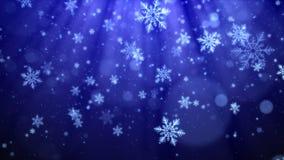 Błękitny Bożenarodzeniowy tło z płatkami śniegu, błyszczącymi światłami i cząsteczki bokeh w eleganckim temacie, Zdjęcia Stock