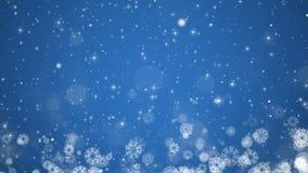Błękitny Bożenarodzeniowy tło Zimy karta z płatkami śniegu, gwiazdami i śniegiem, ilustracji