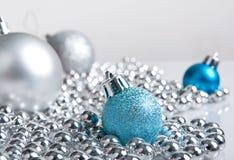 błękitny bożych narodzeń dekoracj srebro Zdjęcie Stock