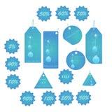 błękitny bożych narodzeń etykietek mega paczka Obraz Royalty Free