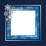 błękitny bożych narodzeń ramowi płatek śniegu Obraz Royalty Free