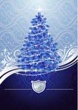 błękitny bożych narodzeń srebny drzewo royalty ilustracja