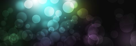 Błękitny bokeh światła tło, sztandar E Zdjęcie Royalty Free