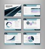 Błękitny broszurka szablon z infographics elementem ilustracji