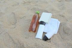 błękitny butelki ochrony ochronny słońca sunscreen Fotografia Stock